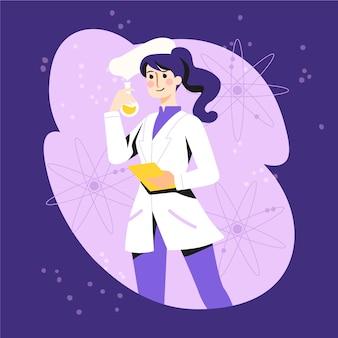 Personaje de ilustración de mujer científico
