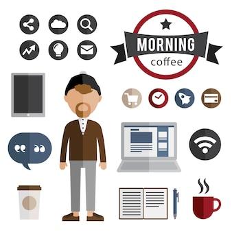 Personaje inconformista con elementos. taza de café, computadora, cuaderno, wi-f
