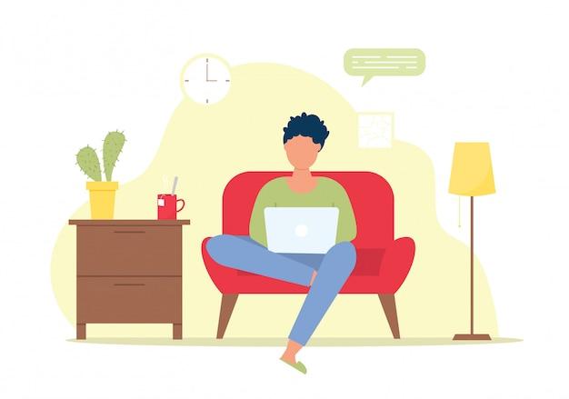 Personaje independiente trabajando en casa