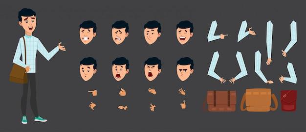 Personaje joven con diferentes expresiones faciales, poses de manos y varios tipos de bolsos