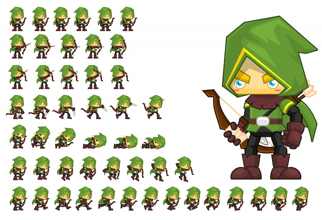 Personaje de juego de arquero verde