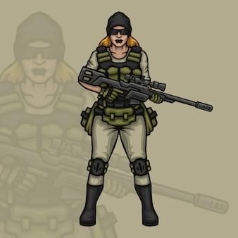 Personaje de juego de francotirador femenino