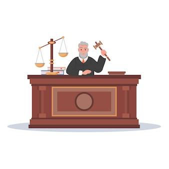 Personaje de juez con ilustración de vector de dibujos animados de martillo