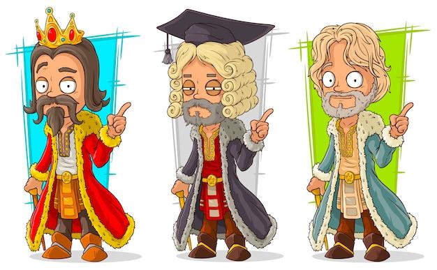 Personaje de juez rey medieval de dibujos animados