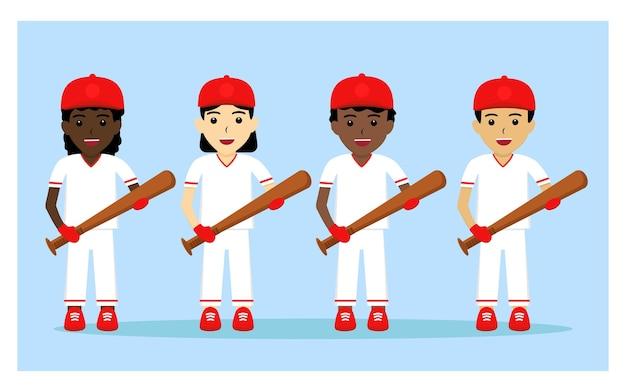 Personaje del jugador de béisbol en diseño plano.
