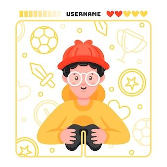 Personaje jugando ilustración de videojuegos