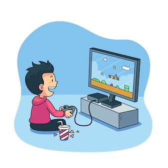 Personaje jugando videojuegos