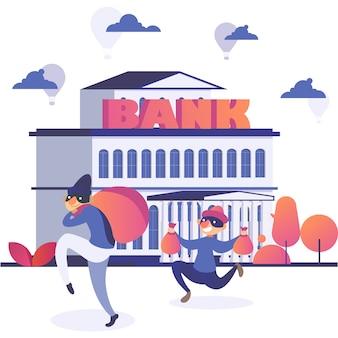 El personaje ladrón roba dinero de la ilustración del banco, el ladrón criminal cómico de dibujos animados comete un ataque, el ladrón de bandidos activos se ejecuta