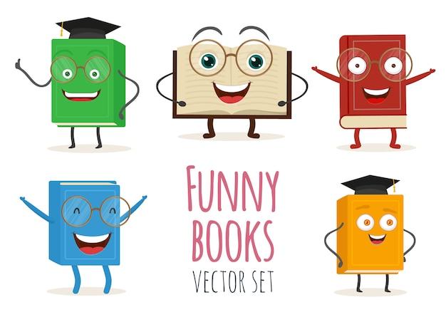 Personaje de libro de dibujos animados lindo con caras sonrientes y emoción.
