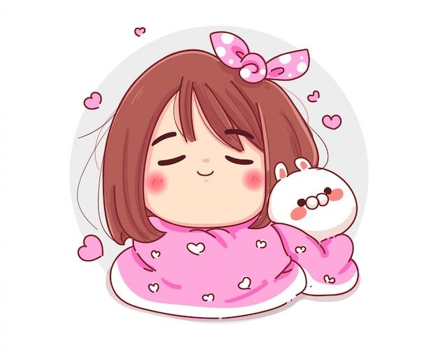 Personaje de linda chica y conejo blanco con cómoda manta aislado sobre fondo blanco.