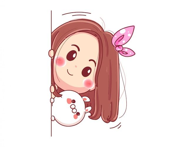 Personaje de linda chica y conejo blanco jugando al escondite aislado sobre fondo blanco.