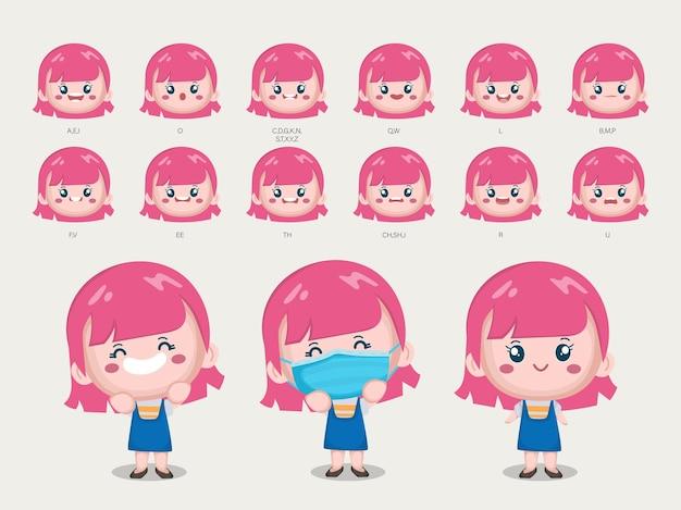 Personaje de linda chica con diferentes poses y emociones.