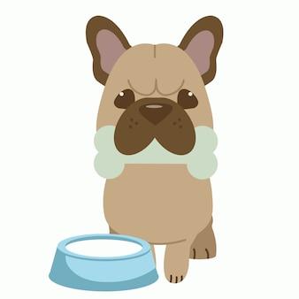 El personaje del lindo bulldog francés monta en bicicleta un hueso y tiene un tazón de leche cerca del perro.