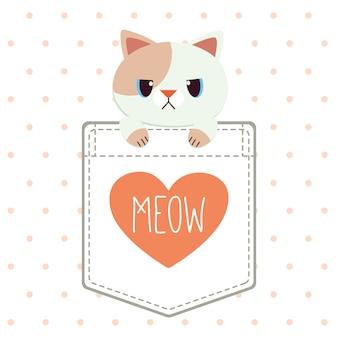 El personaje de lindo gato en el bolsillo de la camisa en estilo vector plano.