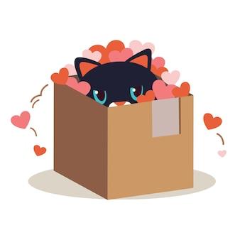 Personaje de lindo gato en la caja y jugar un corazón en blanco