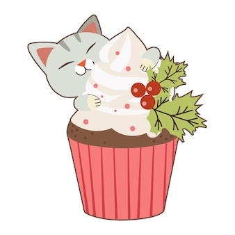 El personaje de lindo gato con un gran cupcake en tema navideño