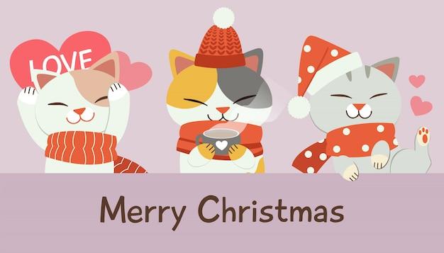 Personaje de lindo gato en navidad.