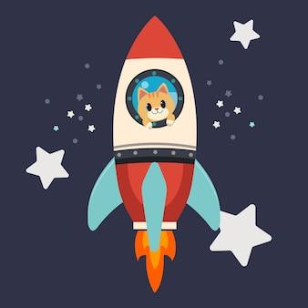 El personaje del lindo gato permanece en el gran alcance del cohete. el gato sonríe y se ve feliz y emocionante.
