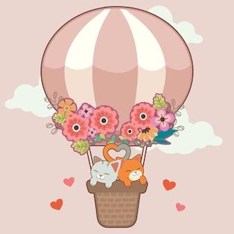 El personaje de lindo gato sentado en la canasta de globo de aire caliente en el cielo rosa. el lindo gato con cola parece corazón. el globo de aire caliente con flores. el personaje de lindo gato en vector plano.