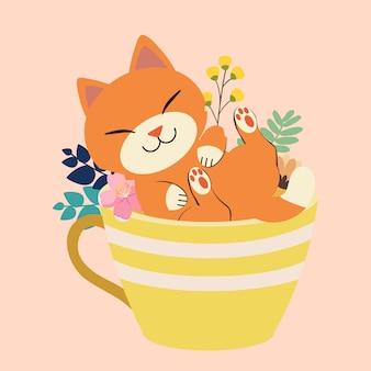 El personaje de lindo gato sentado en una taza grande