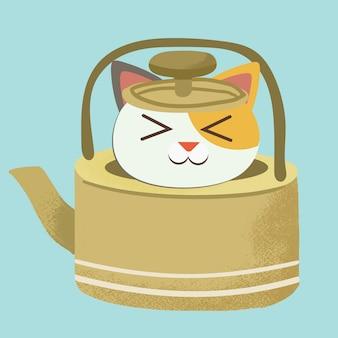 El personaje de lindo gato sentado en la tetera de té amarillo.