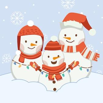 El personaje de lindo muñeco de nieve con amigos o familiares. el personaje de lindo muñeco de nieve usa gorro de invierno y bufanda y guantes de invierno y bombilla en estilo vector plano.