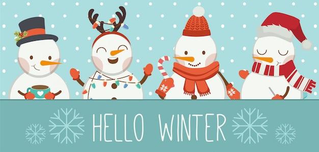 El personaje del lindo muñeco de nieve y sus amigos en el marco azul dicen hola invierno.