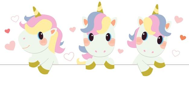 El personaje de lindo unicornio asoma sobre fondo blanco con corazón en estilo vector plano.