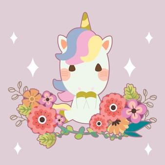 Personaje de lindo unicornio con una flor en púrpura