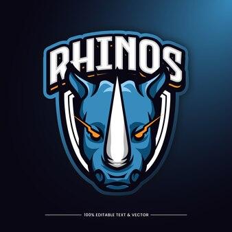 Personaje de logotipo de cabeza de rinoceronte animal