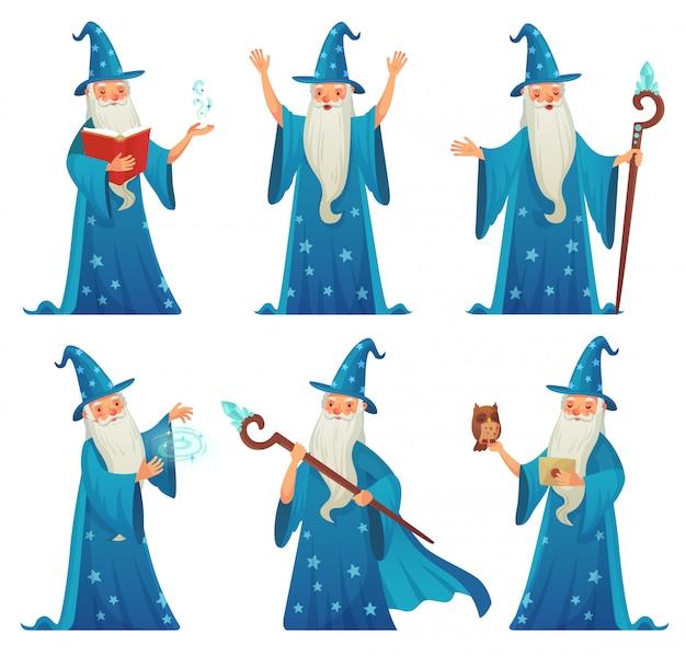 Personaje de mago de dibujos animados