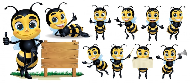 Personaje de mascota de abeja de dibujos animados