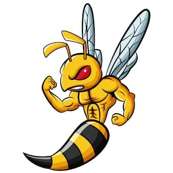 Personaje de mascota de abeja fuerte de dibujos animados