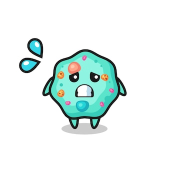 Personaje de mascota ameba con gesto de miedo, diseño de estilo lindo para camiseta, pegatina, elemento de logotipo