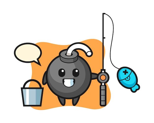 Personaje de mascota de bomba como pescador