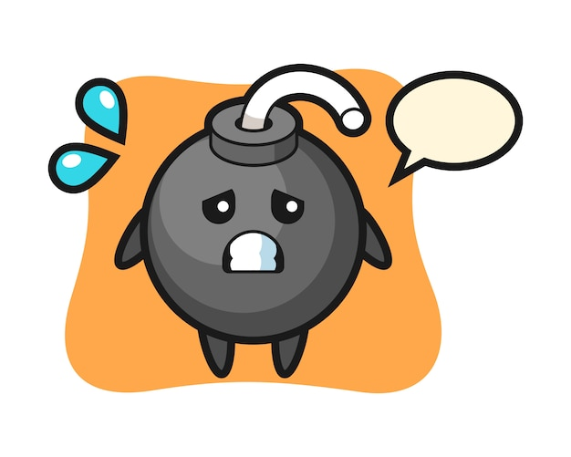 Personaje de mascota de bomba con gesto de miedo