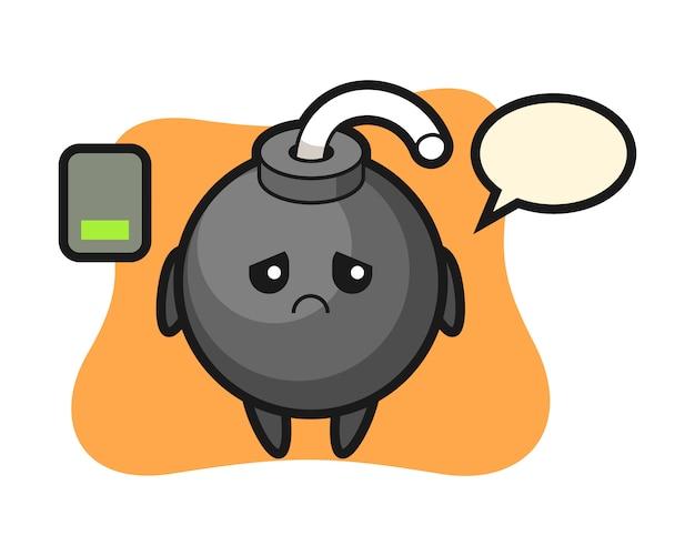 Personaje de mascota de bomba haciendo un gesto cansado