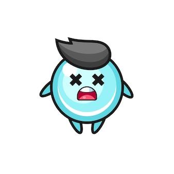 El personaje de la mascota de la burbuja muerta, diseño de estilo lindo para camiseta, pegatina, elemento de logotipo