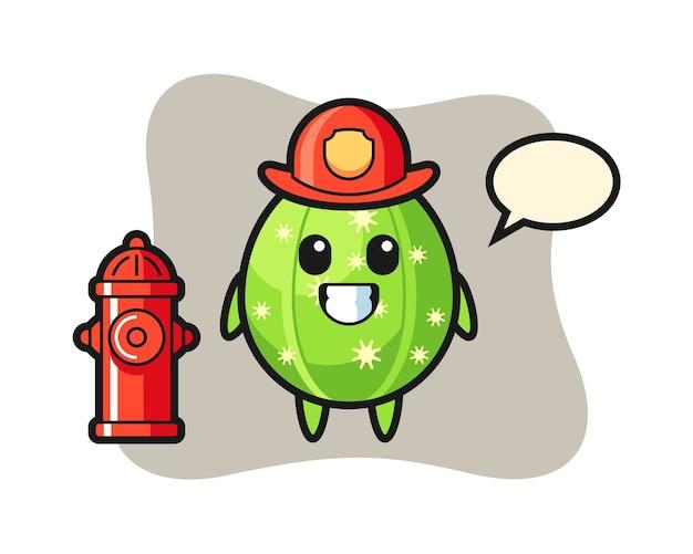 Personaje de mascota de cactus como bombero.