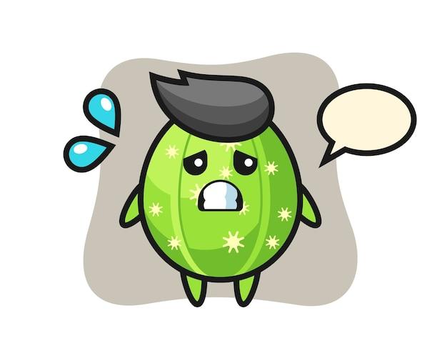 Personaje de mascota de cactus con gesto de miedo
