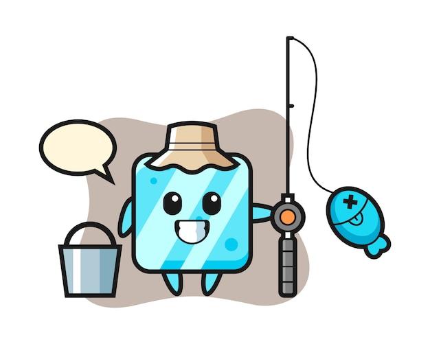 Personaje de mascota de cubo de hielo como pescador