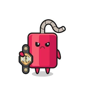 Personaje de mascota dinamita como un luchador de mma con el cinturón de campeón, diseño de estilo lindo para camiseta, pegatina, elemento de logotipo