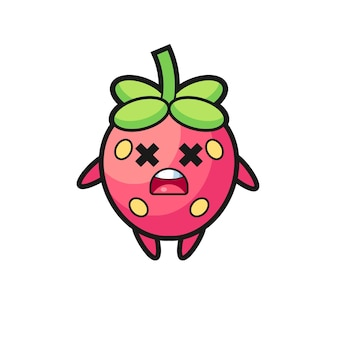 El personaje de mascota de fresa muerta, diseño de estilo lindo para camiseta, pegatina, elemento de logotipo