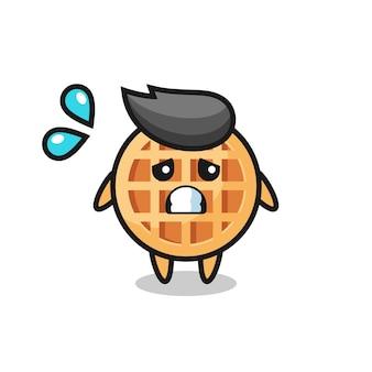Personaje de mascota de gofre circular con gesto de miedo, diseño lindo