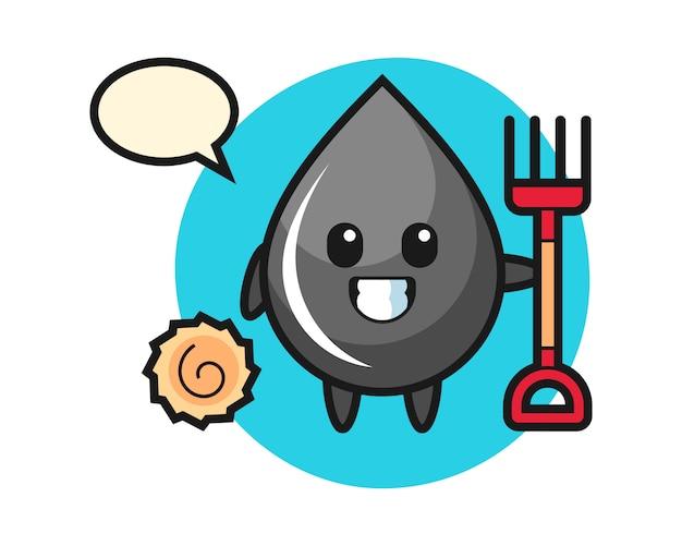 Personaje de mascota de gota de aceite como agricultor
