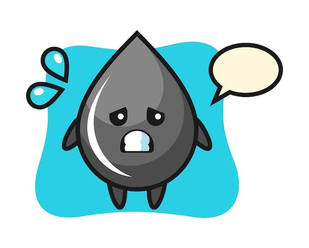 Personaje de mascota de gota de aceite con gesto de miedo