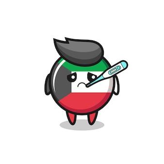 Personaje de la mascota de la insignia de la bandera de kuwait con condición de fiebre, diseño lindo