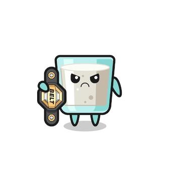 Personaje de mascota de leche como un luchador de mma con el cinturón de campeón, diseño de estilo lindo para camiseta, pegatina, elemento de logotipo