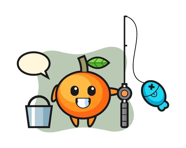 Personaje de mascota de mandarina como pescador, estilo lindo, pegatina, elemento de logotipo