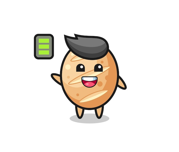 Personaje de mascota de pan francés con gesto enérgico, diseño lindo
